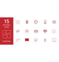 15 painting icons vector image