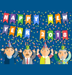 2018 happy new year people flat style vector image