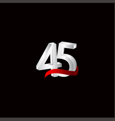 45 years anniversary celebration number black vector