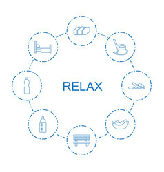 8 relax icons vector