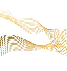 abstract wave lines gold color isolated on white vector image