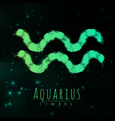 Abstract zodiac sign aquarius on a dark vector