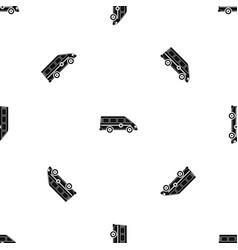Ambulance emergency van pattern seamless black vector