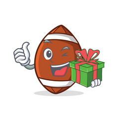 American football character cartoon with gift vector