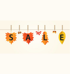 autumn sales banner with leaves on rope vector image