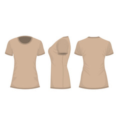 beige womans t-shirt template with front side and vector image