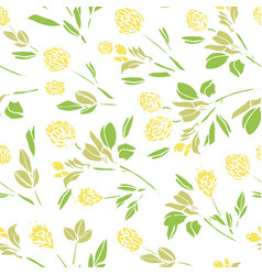 Botany hand drawn clover blossom repeat pattern vector