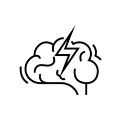 brain attack line icon concept sign outline vector image
