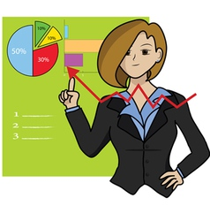 business woman and growing graph vector image