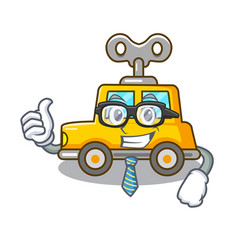 Businessman cartoon clockwork toy car in table vector