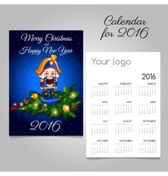 Calendar for 2016 with vintage toy soldier in blue vector