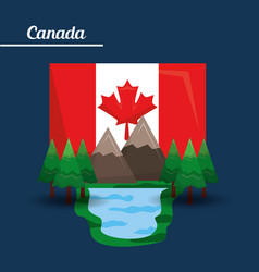 Canada flag map monument vector