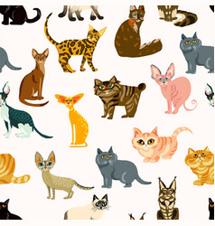 cartoon cats seamless pattern bree vector image