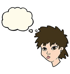 Cartoon curious girl with thought bubble vector