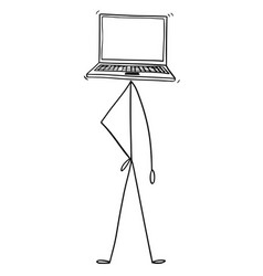 cartoon of character with laptop or notebook vector image