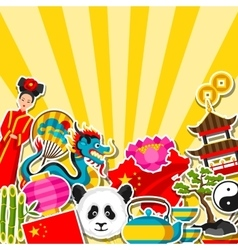 China background design Chinese sticker symbols vector image