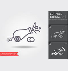 circus cannon line icon with editable stroke vector image