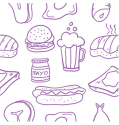 Collection of fast food element doodles vector
