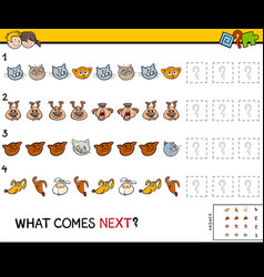complete the pattern with pets game vector image
