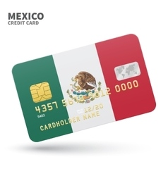 Credit card with Mexico flag background for bank vector