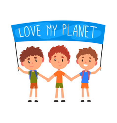 cute boys holding banner with inscription love vector image