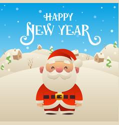 cute cartoon santa claus character happy new year vector image