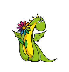 cute little dragon with flower vector image