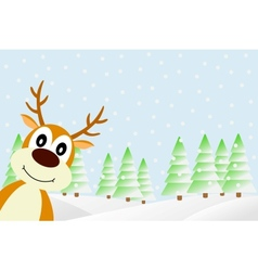 Deer in the winter forest vector