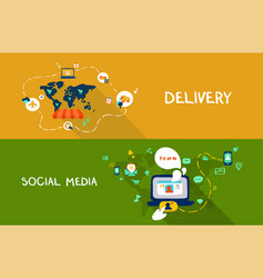 Delivery and social media vector