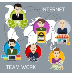Distant work of freelancers on a joint project vector
