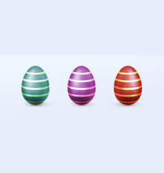 easter eggs with striped patten vector image