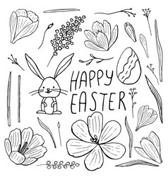 easter set isolated hand-drawn crocuses bunny vector image