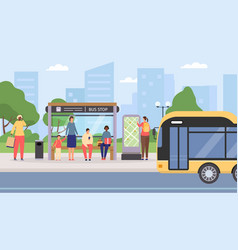 flat people waiting at city public bus stop vector image