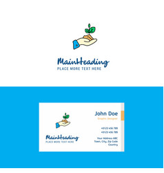 flat plant logo and visiting card template vector image