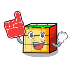 Foam finger rubik cube mascot cartoon vector