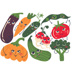 Funny vegetable characters set eggplant carrot vector