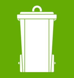 garbage bin icon green vector image