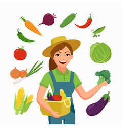 girl farmer and various vegetables in flat cartoon vector image