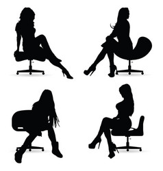 Girl silhouette in black sitting on chair vector