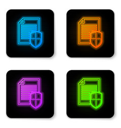 glowing neon document protection concept icon on vector image