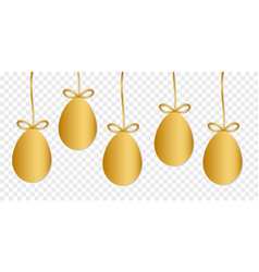 Gold easter eggs with shape isolated on vector