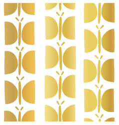 gold foil butterfly seamless pattern vector image