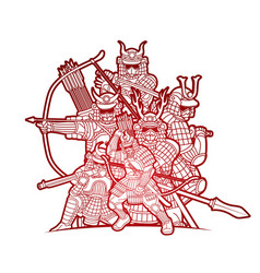 group samurai warrior with weapon vector image