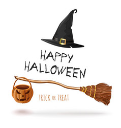 Halloween design with witches broom and hat vector