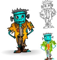 Halloween isolated spooky zombie man set vector