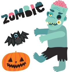 Halloween zombie monster character with pumpkin vector