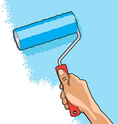 Hand roller brush vector