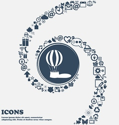 Hot air balloon sign icon in the center Around the vector