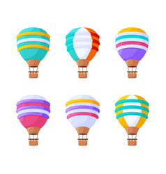 hot air balloons flat set colorful vintage aerial vector image