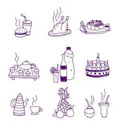 Icons of food and drinks vector